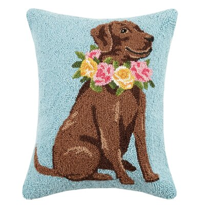 Hoogasian Chocolate Lab Hook Wool Throw Pillow