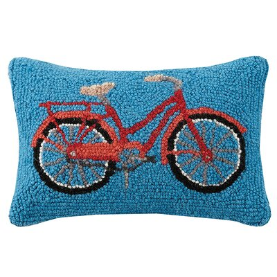 Clare Bike Mountain and Tent Wool Lumbar Pillow