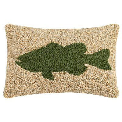 Perdrizet Fishing Rod and Bass Wool Lumbar Pillow