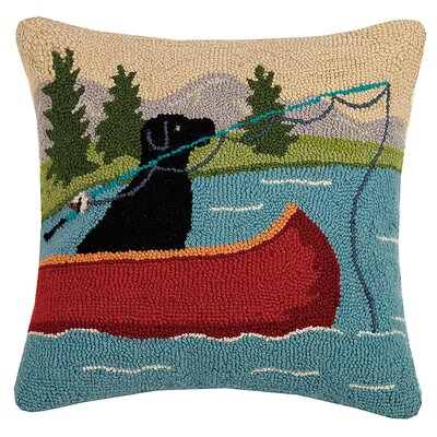 Cocchia Lab Fishing Pole Canoe Hook Wool Throw Pillow