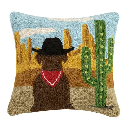 Lamplough Western Dog Hook Wool Throw Pillow