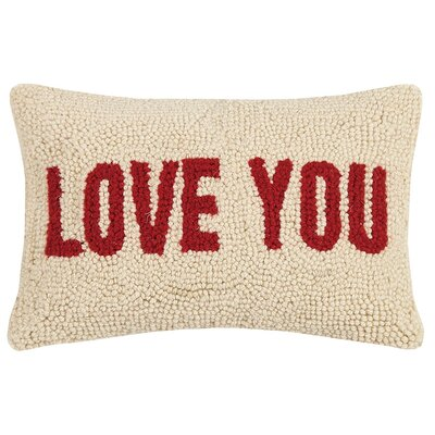 Claremont Mom Heart and Love You Wool Lumbar Pillow