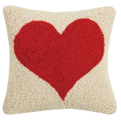 Clarion Red Heart Hook Wool Throw Pillow