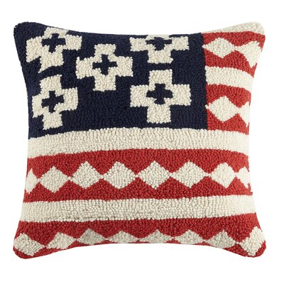 Turoczy USA Kilim Flag Hook Wool Throw Pillow