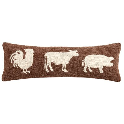 Pellerin Rooster Cow and Pig Wool Lumbar Pillow