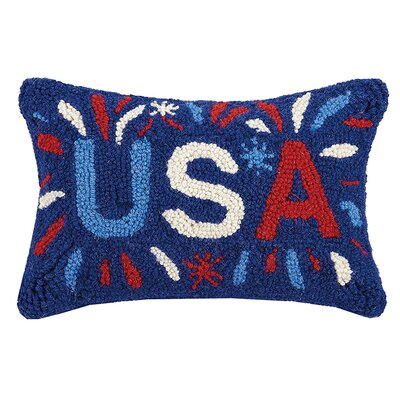 USA Hook Wool Lumbar Pillow