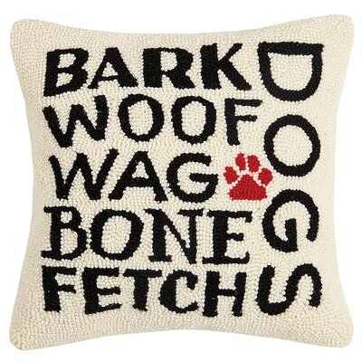 Krupp I Love My Dog Wool Throw Pillow