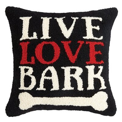 Burpee Live Love Bark Dog Hook Wool Throw Pillow