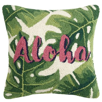 Eastport Aloha Palm Leaf Wool Throw Pillow