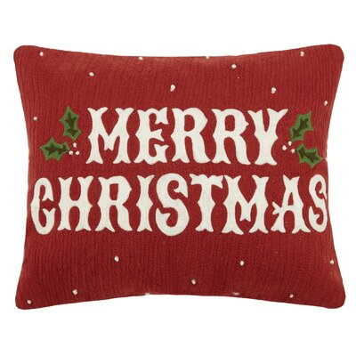 Devana Holiday Crewel 100% Cotton Lumbar Pillow