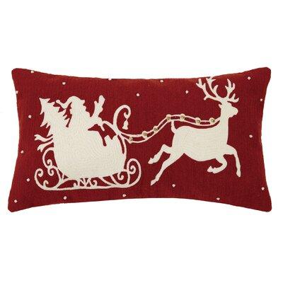 Delmore Holiday Crewel 100% Cotton Lumbar Pillow