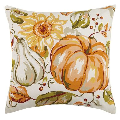 Fall Cornucopia and Pumpkin Sunflower 100% Cotton Throw Pillow