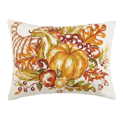 Fall Cornucopia and Pumpkin Sunflower 100% Cotton Lumbar Pillow