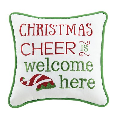 Christmas Cheer Holiday 100% Cotton Throw Pillow