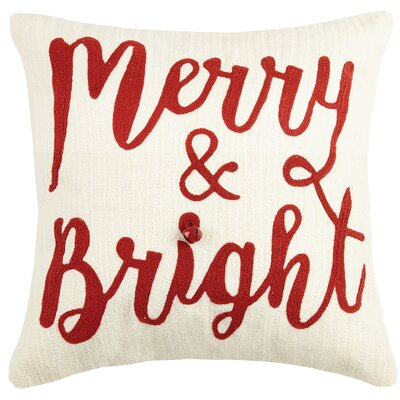 Delmare Holiday Crewel 100% Cotton Throw Pillow