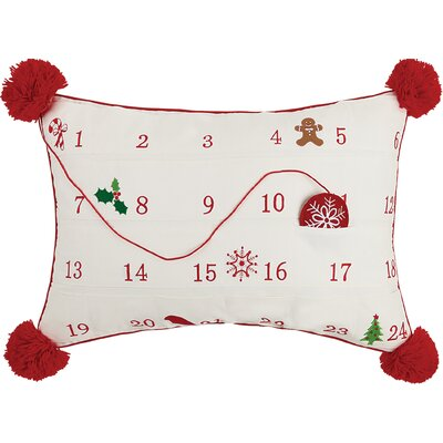 Advent Calendar Embroidered 100% Cotton Throw Pillow