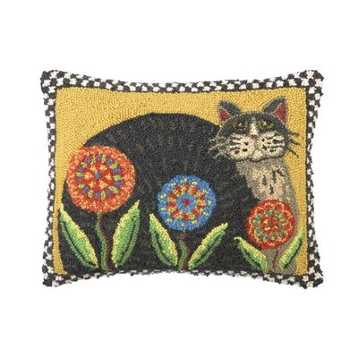 Penny Flower Cat Wool Lumbar Pillow