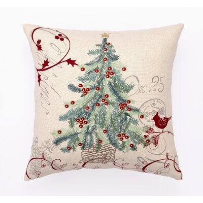 Embroidery Christmas Tree Wool Throw Pillow