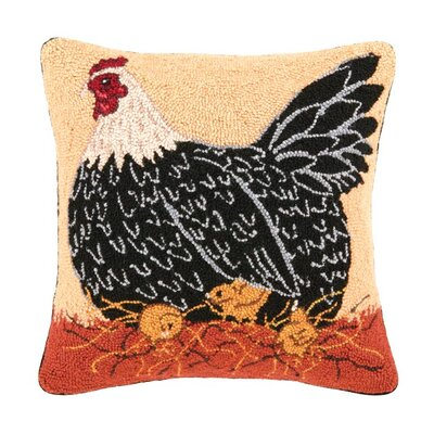 Mama Hen Wool Throw Pillow
