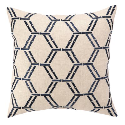 Courtney Cachet Bamboo Embroidered Decorative Linen Throw Pillow Color: Navy