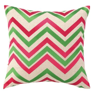 Courtney Cachet Chevron Embroidered Decorative Throw Pillow Color: Pink/Green