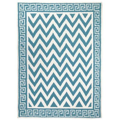 Melrose Hand-Hooked Turquoise Area Rug