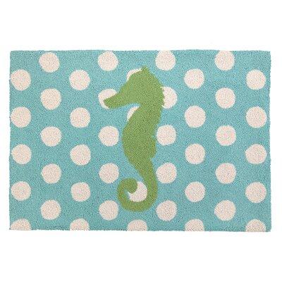 Seahorse Hook White/Blue Area Rug Rug Size: 2 x 28
