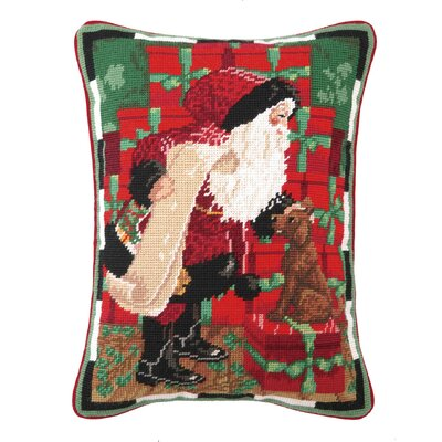 Needlepoint Santa with Dog Wool Throw Pillow