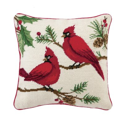 Needlepoint Winterberry Cardinals Wool Throw Pillow