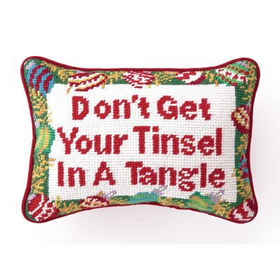 Needlepoint Dont Get Your Tinsel Wool Throw Pillow