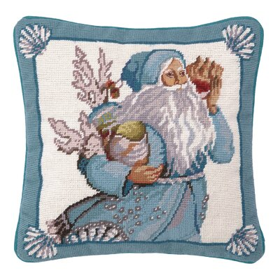 Needlepoint Coral and Shells Santa Wool Throw Pillow