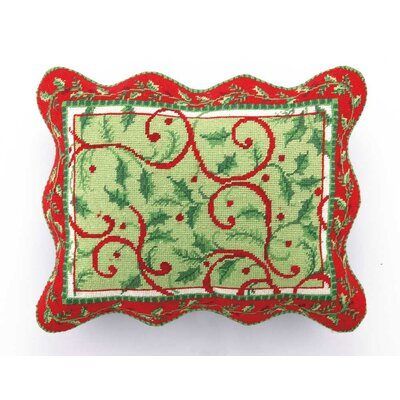 Hook Holly Days Needlepoint Wool Throw Pillow