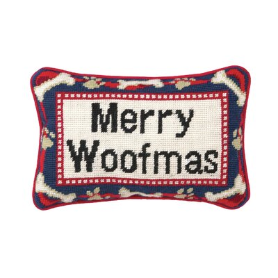 Needlepoint Merry Woofmas Blown Wool Throw Pillow