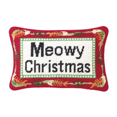 Needlepoint Meowy Christmas Blown Wool Throw Pillow