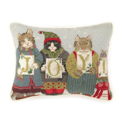 Needlepoint Joy Cats Wool Throw Pillow