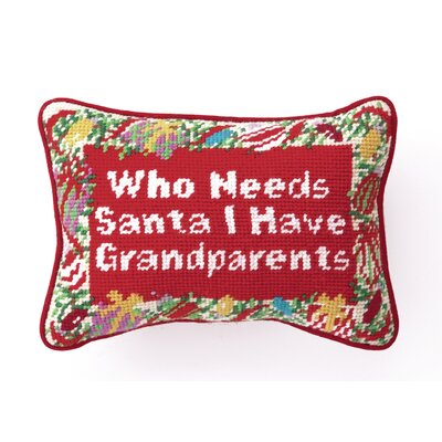 Needlepoint Grandparents Wool Throw Pillow