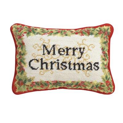 Merry Christmas Needlepoint Wool Lumbar Pillow