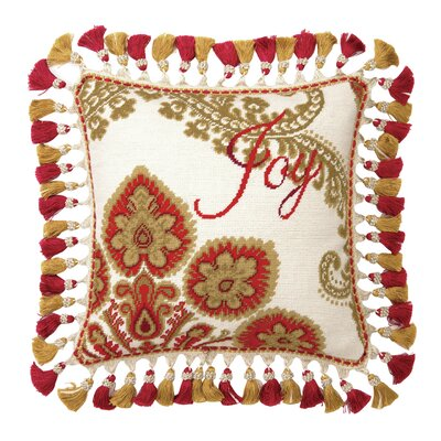 Needlepoint Joy Christmas Manor Wool Throw Pillow