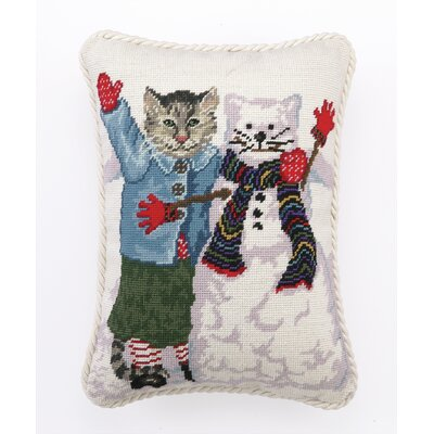 Needlepoint Snow Cats Wool Throw Pillow