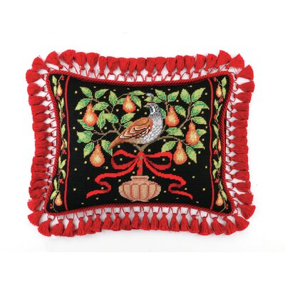 Needlepoint Partridge in Pear Tree Wool Lumbar Pillow