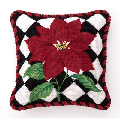 Poinsettia Diamonds Needlepoint Throw Pillow