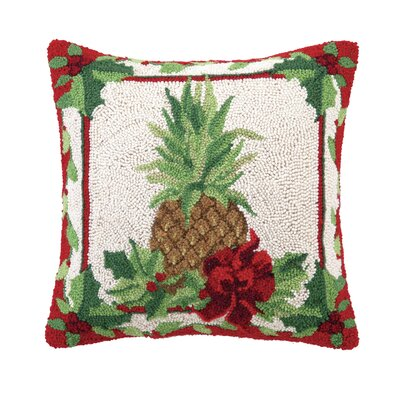 Fruit and Foliage Pineapple Hook Wool Throw Pillow