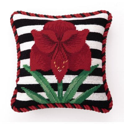 Needlepoint Amaryllis Stripes Wool Throw Pillow