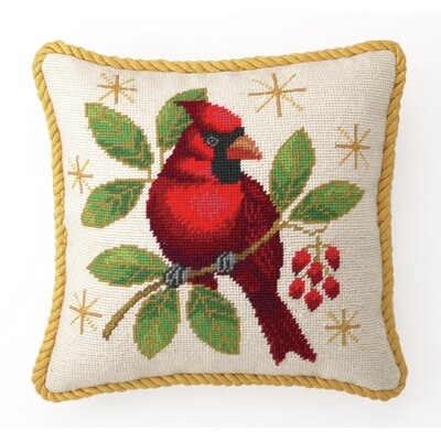 Needlepoint Winter Cardinal Throw Pillow