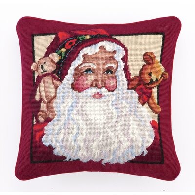 Needlepoint Teddy Bears Santa Wool Throw Pillow