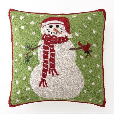 Hook Snowman with Cardinal Wool Throw Pillow