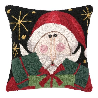 Hook Friendly Santa Present Wool Throw Pillow