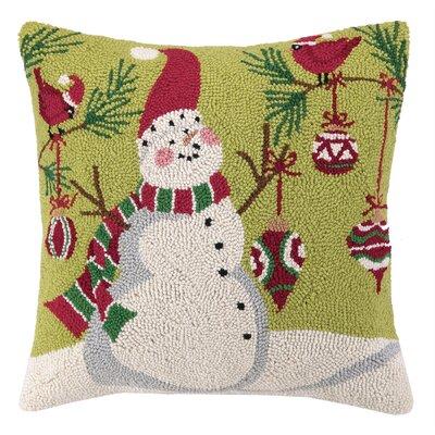 Hook Ornament Snowman Wool Throw Pillow