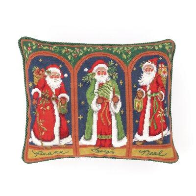 Needlepoint Three Santas Wool Throw Pillow