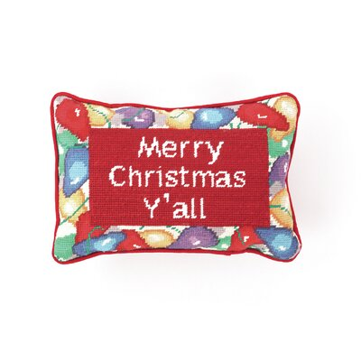 Needlepoint Merry Christmas YAll Wool Throw Pillow